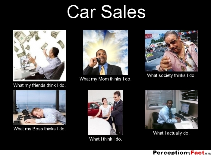 Car Sales... - What people think I do, what I really do ...