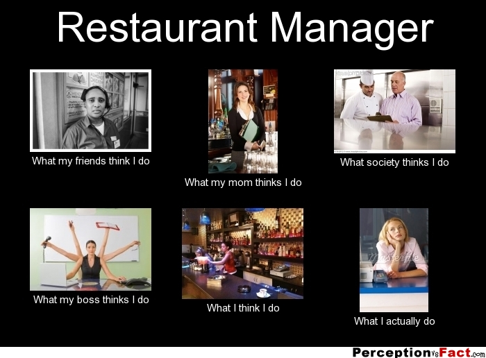 Restaurant Manager What people think I do what I really do