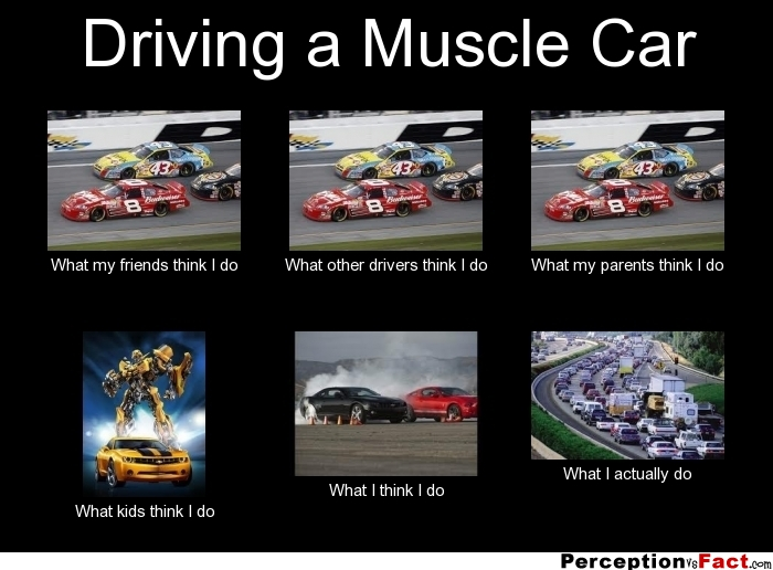Driving A Muscle Car What People Think I Do What I Really Do