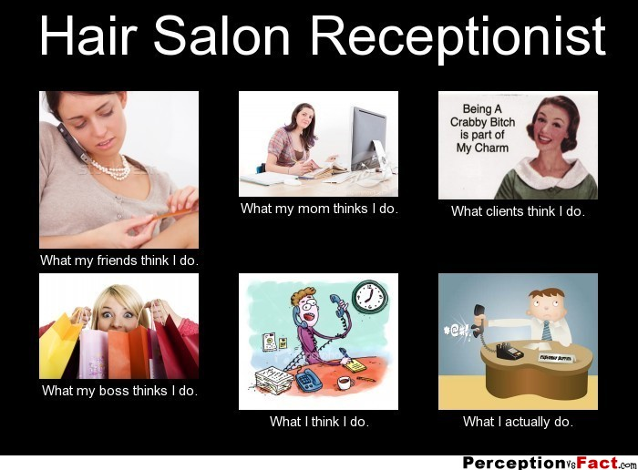 Hair Salon Receptionist... - What people think I do, what I really do - Perception Vs Fact